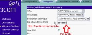 3com wireless router default password configure