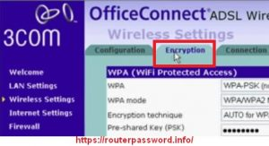 How to configure password for your wirless service on 3Com Router