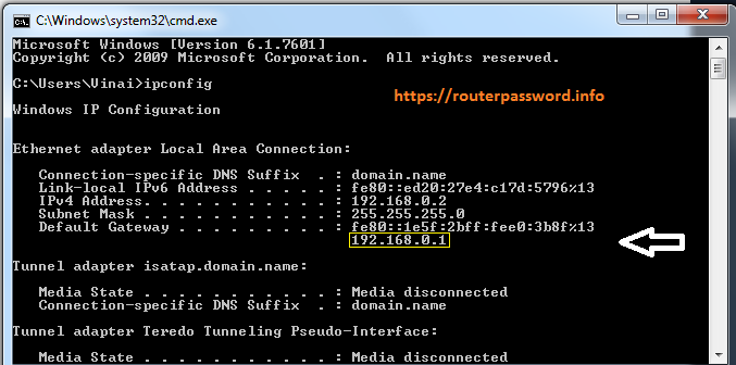 how to find ip address in command prompt windows 7